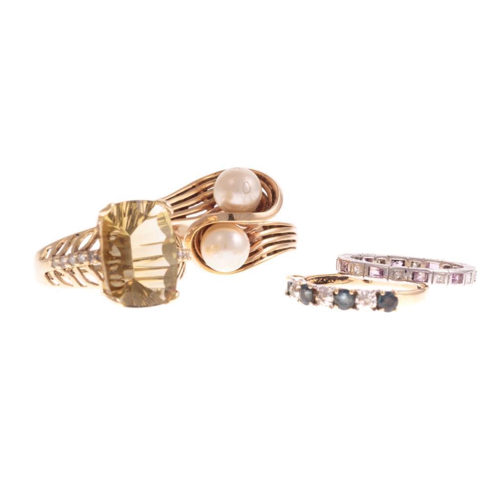 Four Ladies Gemstone Rings in Gold