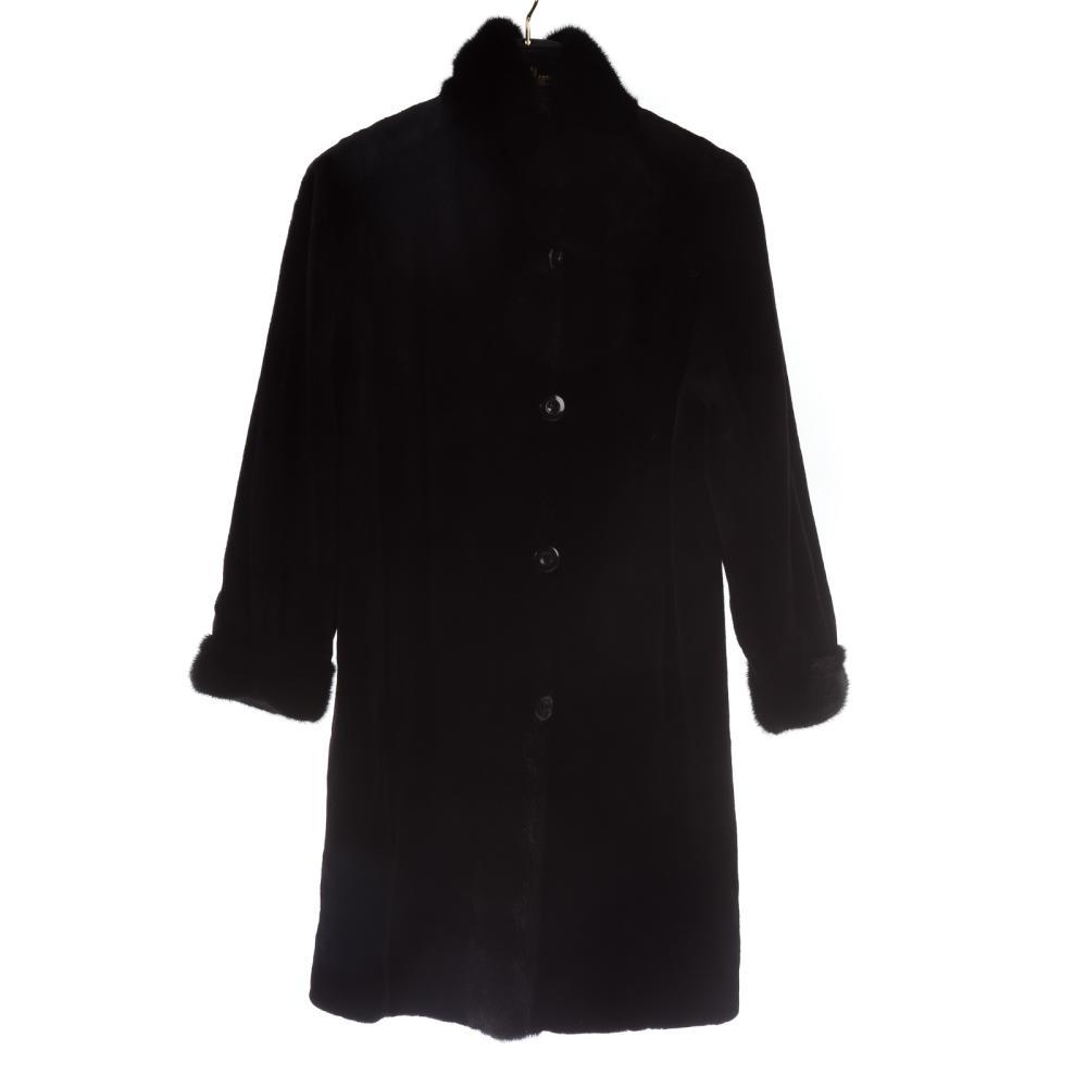 Black Sheared Mink Reversible Coat