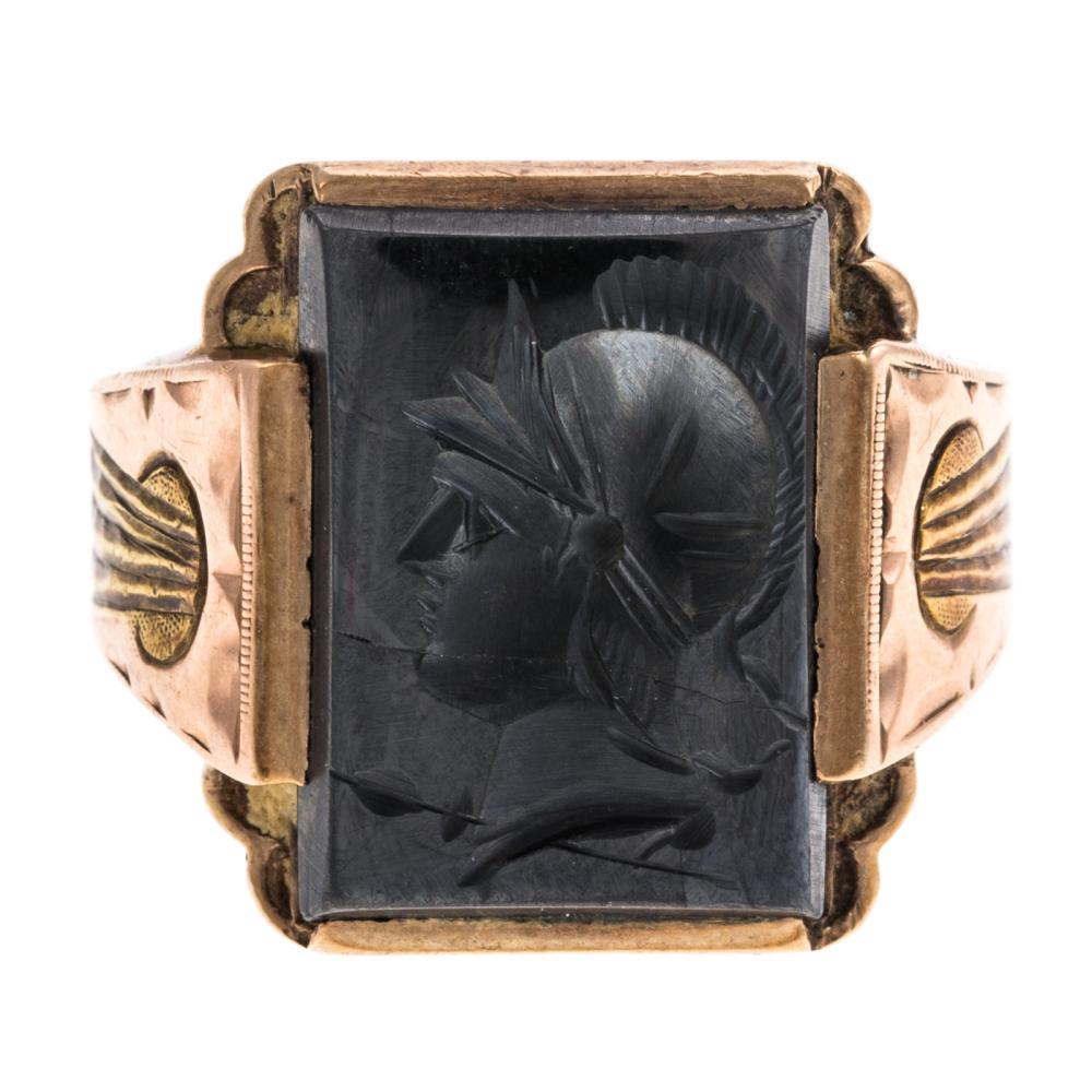 A Gentlemen's Intaglio Hematite Ring in 10K