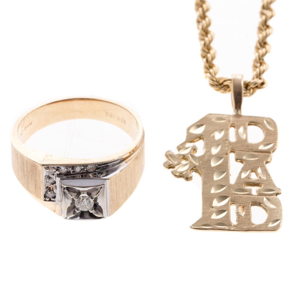 A Gent's Diamond Ring and Chain in Gold