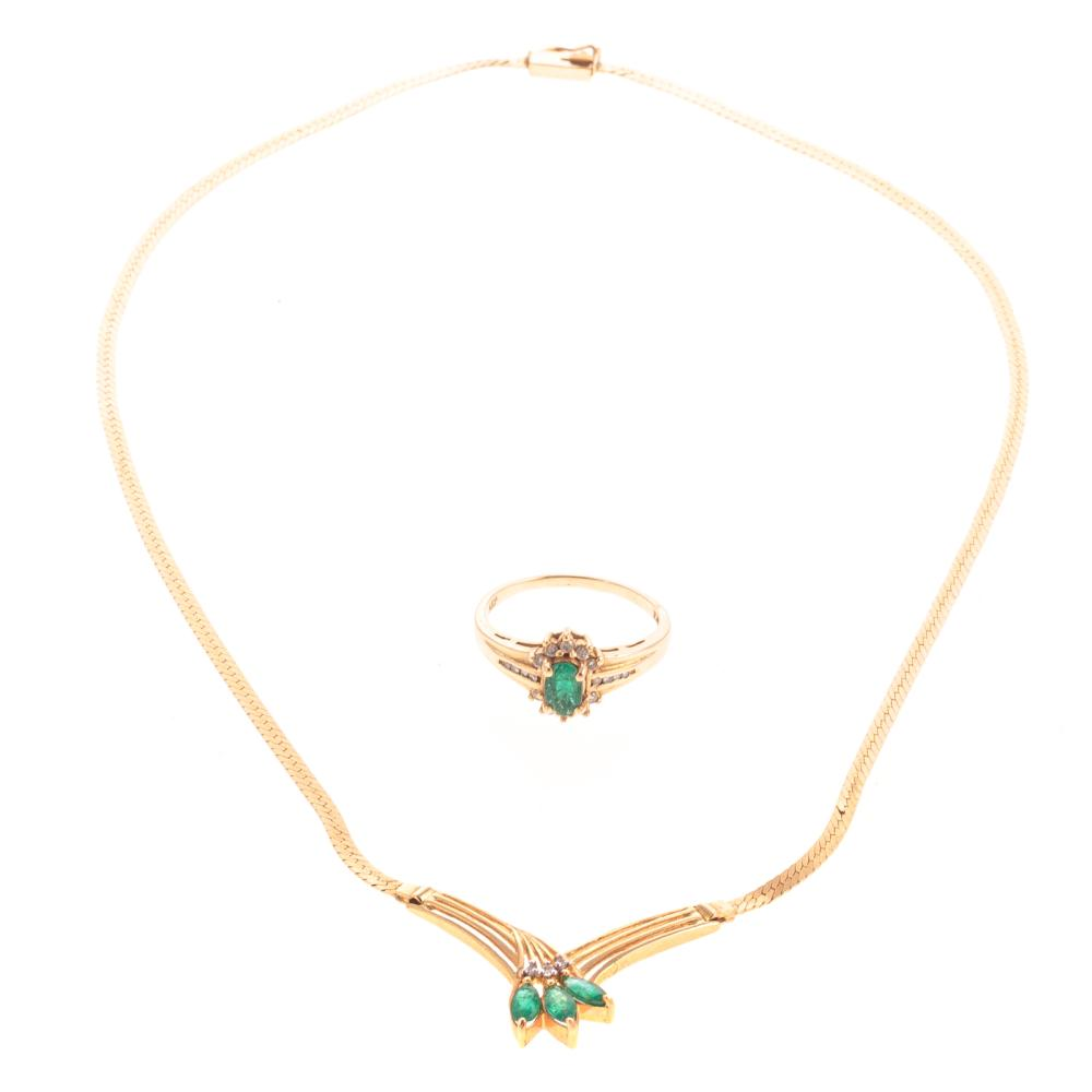 A Ladies 14K Emerald & Diamond Ring and Necklace