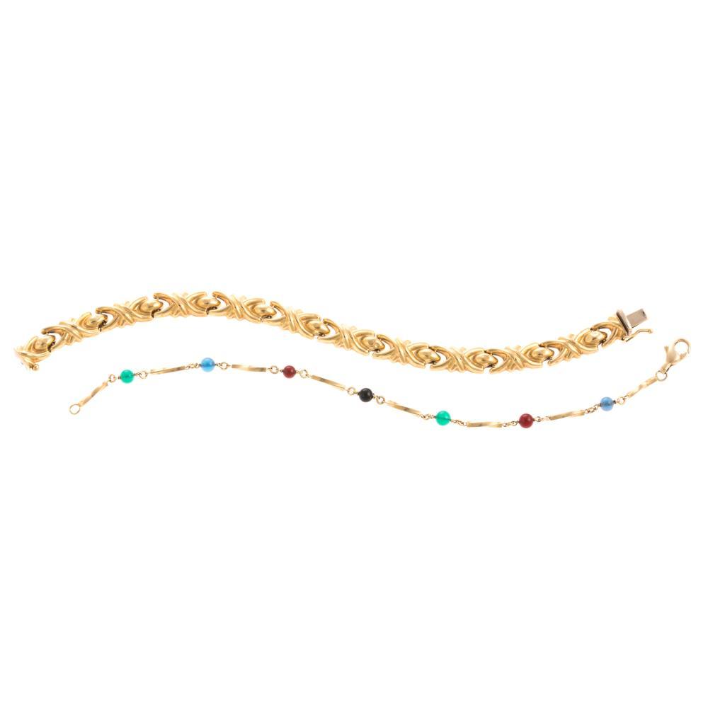 Two Ladies Bracelets in 18K Yellow Gold