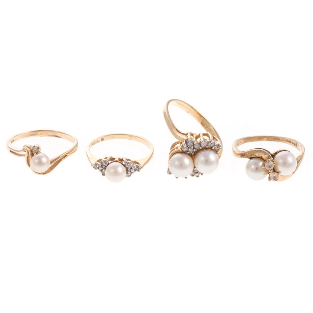 Four Ladies Pearl & Diamond Rings in 14K Gold
