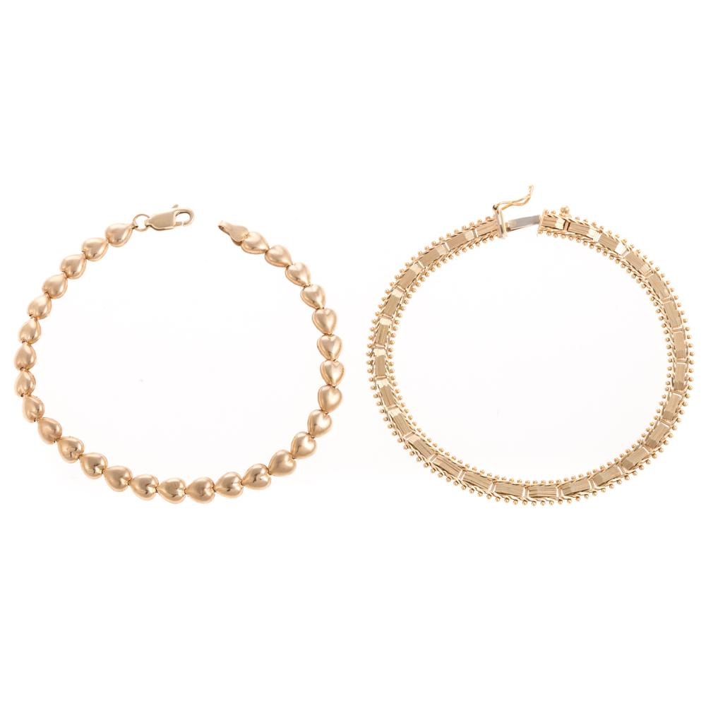 Two Ladies Bracelets in 14K Yellow Gold
