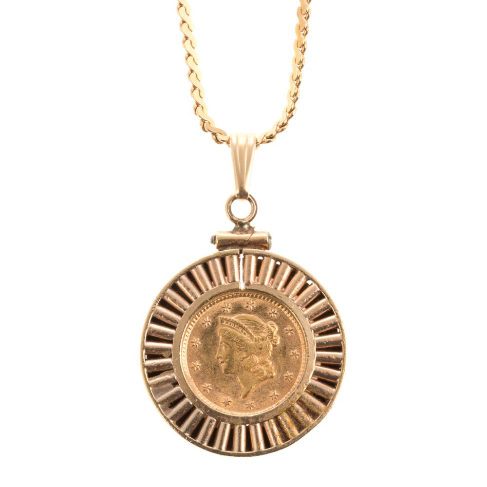 A 24K Gold Coin Pendant and Chain in 14K Gold