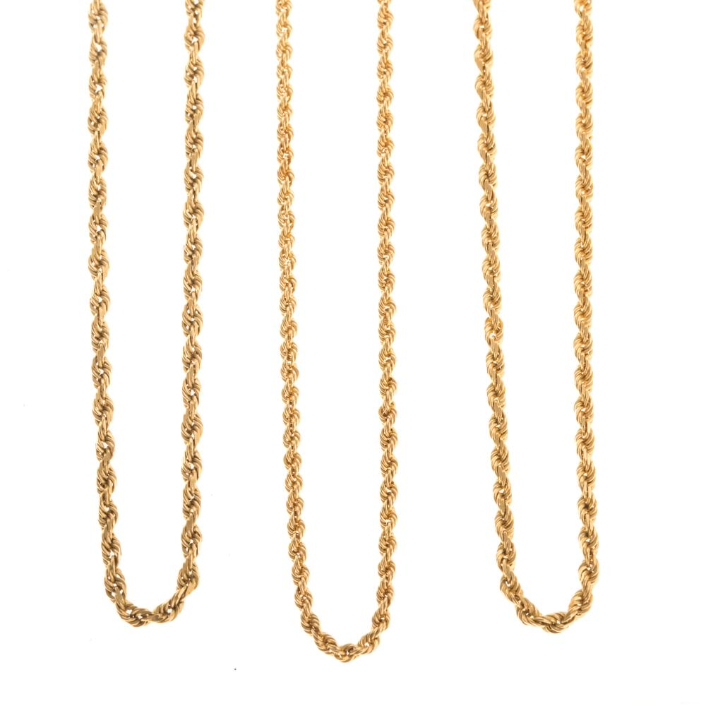 A Trio of 14K Yellow Gold Rope Chains