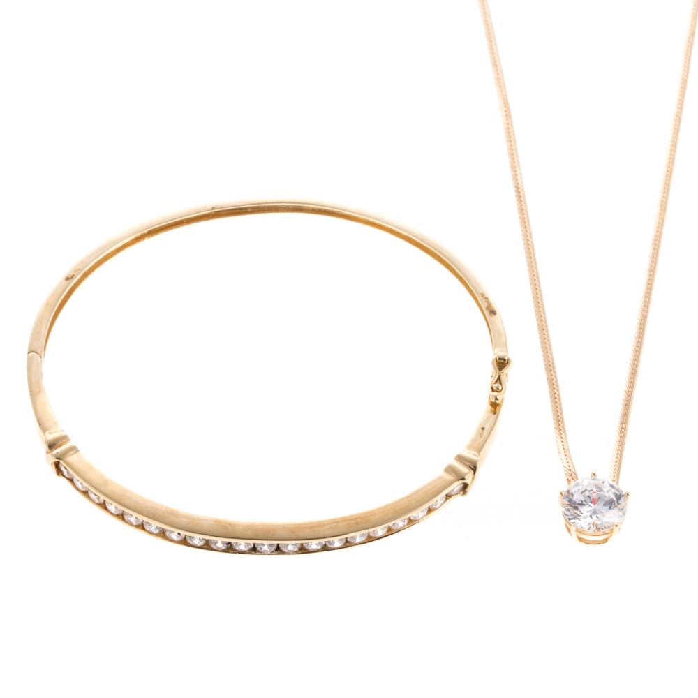 A Necklace & Bracelet with Cubic Zirconia in 14K