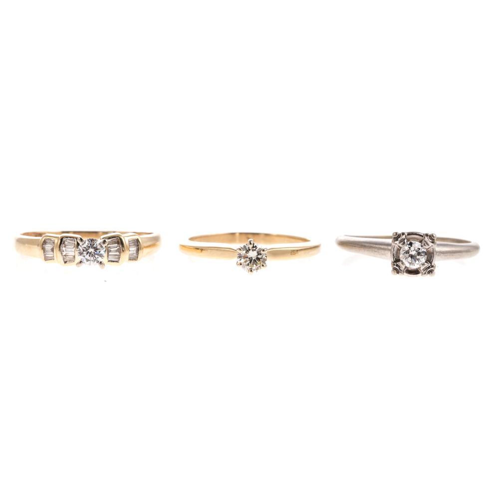 A Trio of Ladies Diamond Engagement Rings in 14K