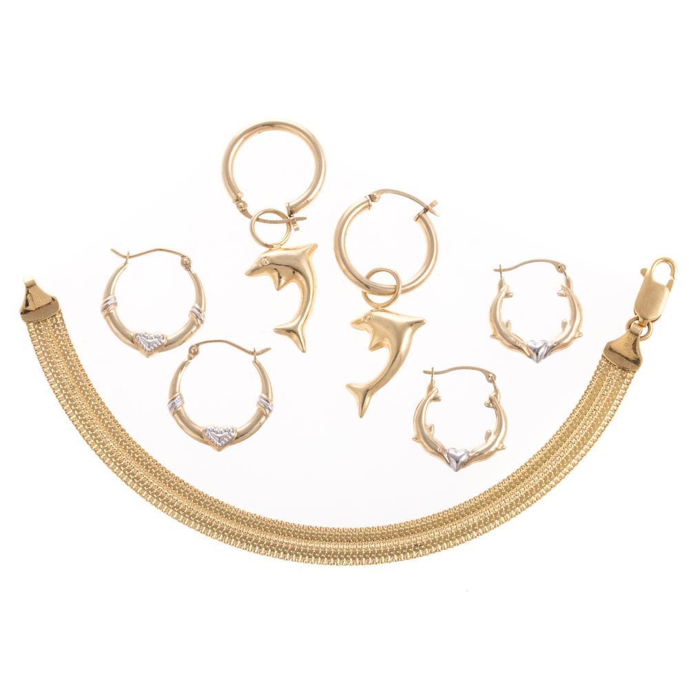 An 18K Italian Bracelet & 3 Pair of Hoop Earrings