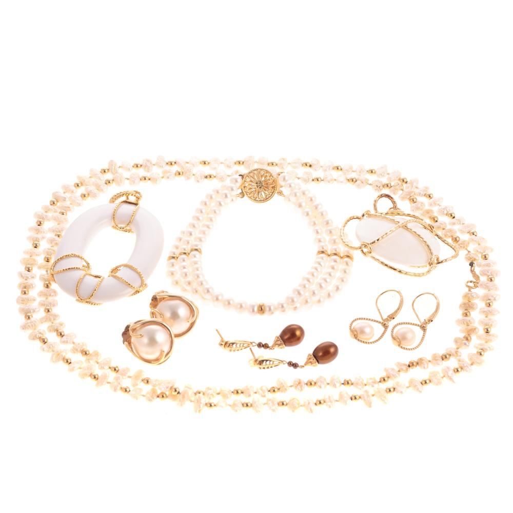 A Collection of 14K Yellow Gold Pearl Jewelry