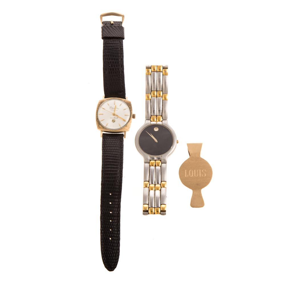 Two Gent's Watches & 14K Money Clip