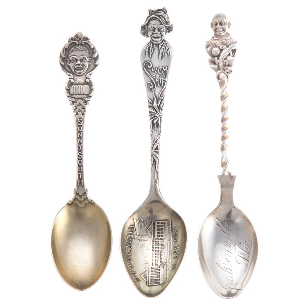 A Trio of Black American Sterling Souvenir Spoons