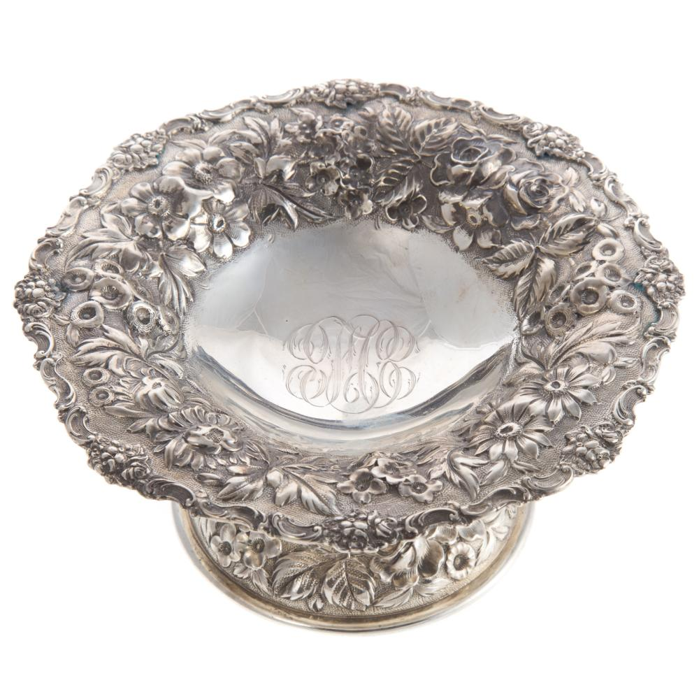 """Stieff """"Rose"""" Repousse Sterling Silver Compote"""