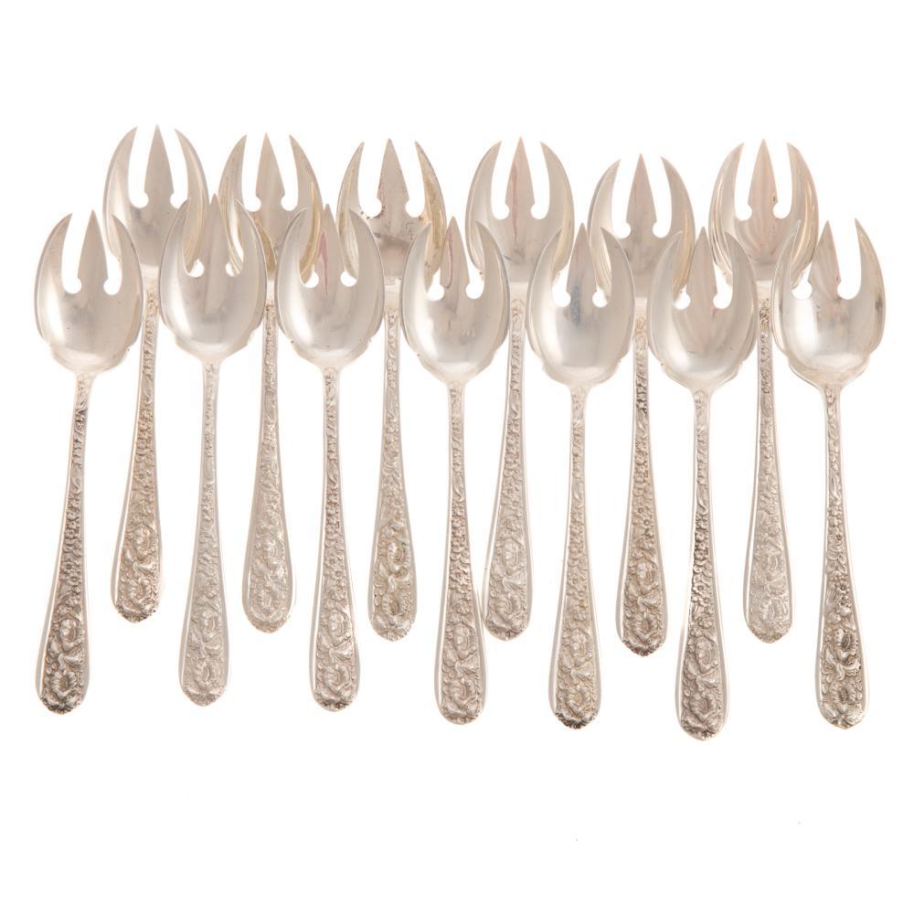 "13 Stieff ""Corsage"" Sterling Ice Cream Forks"