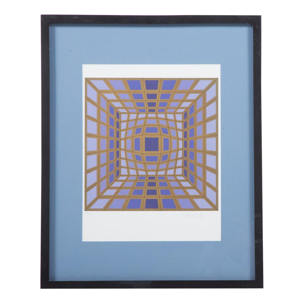 Victor Vasarely. Lavender and Gold Op-Art