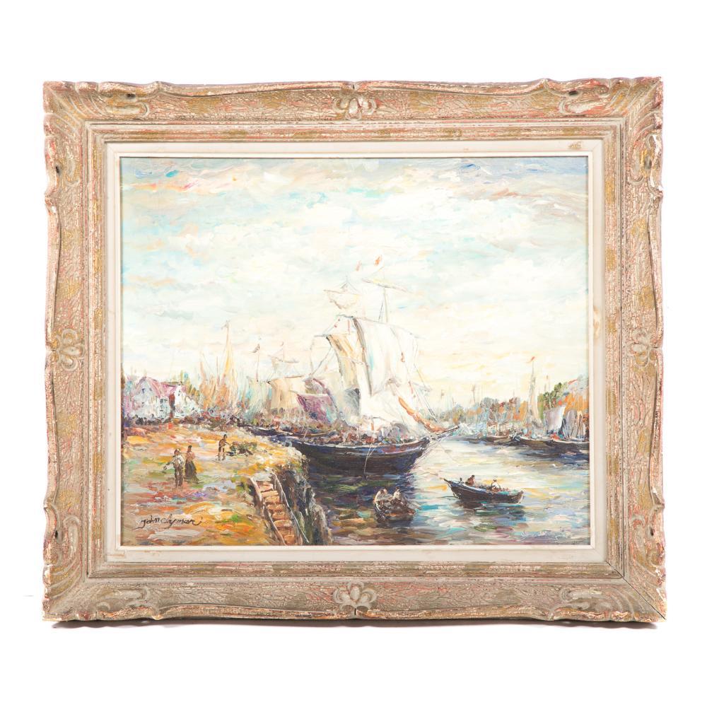 John Clymer. Busy Harbor Scene