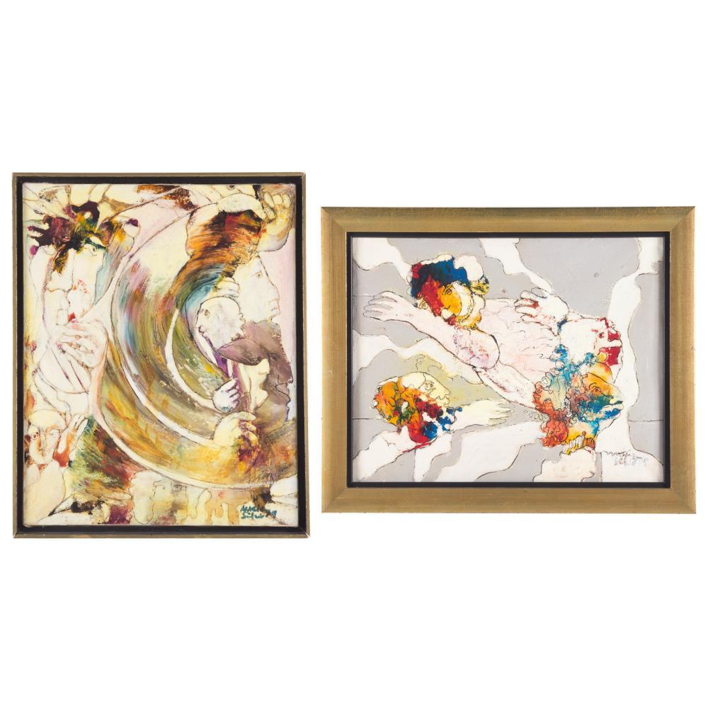 Mario Silva. Two framed mixed medias on canvas