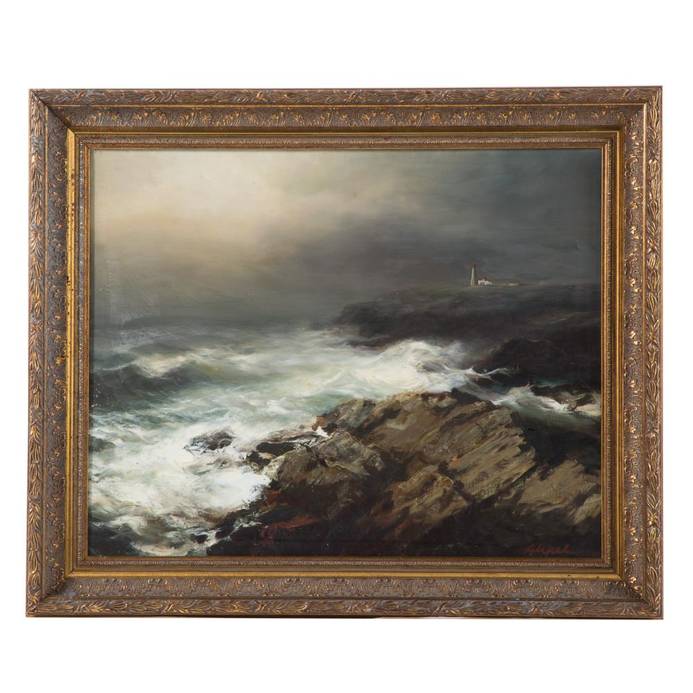 Arthur Upelnieks. Waves Crashing on Rocky Coast