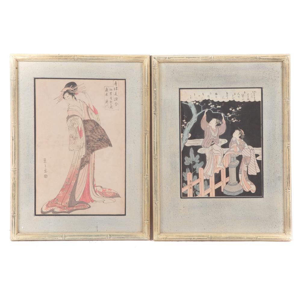 Two Framed 19th c. Japanese Color Woodblock Prints