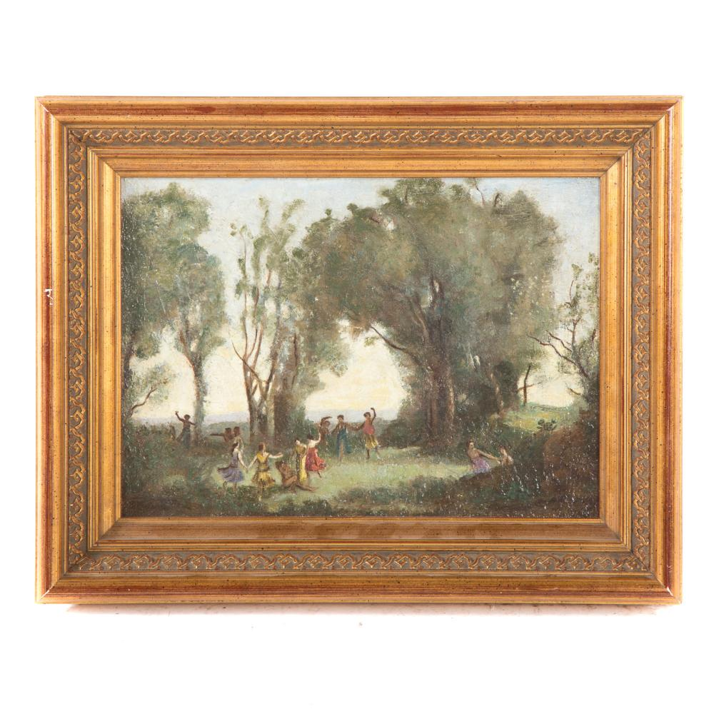 Follower of Corot. Figures Frolicking in a Park