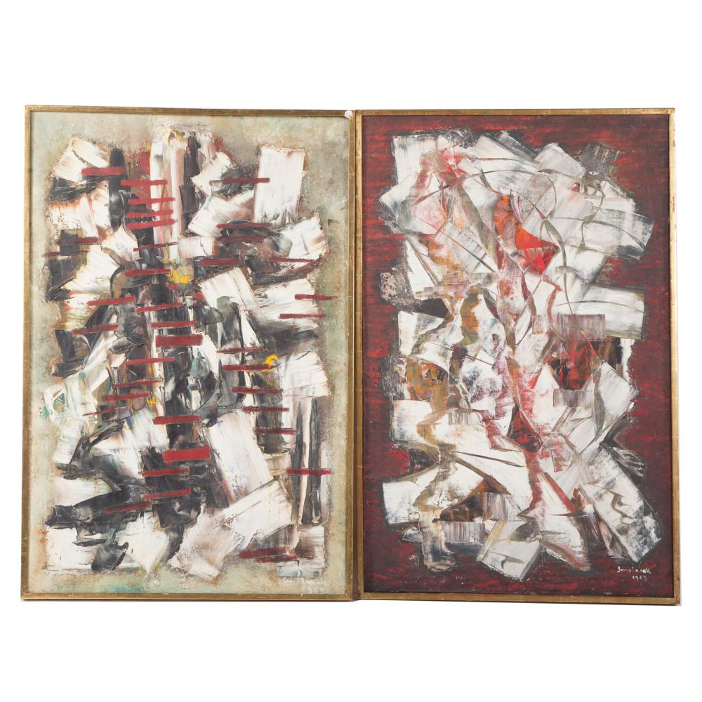 Pair of Framed Abstract Oils on Canvas