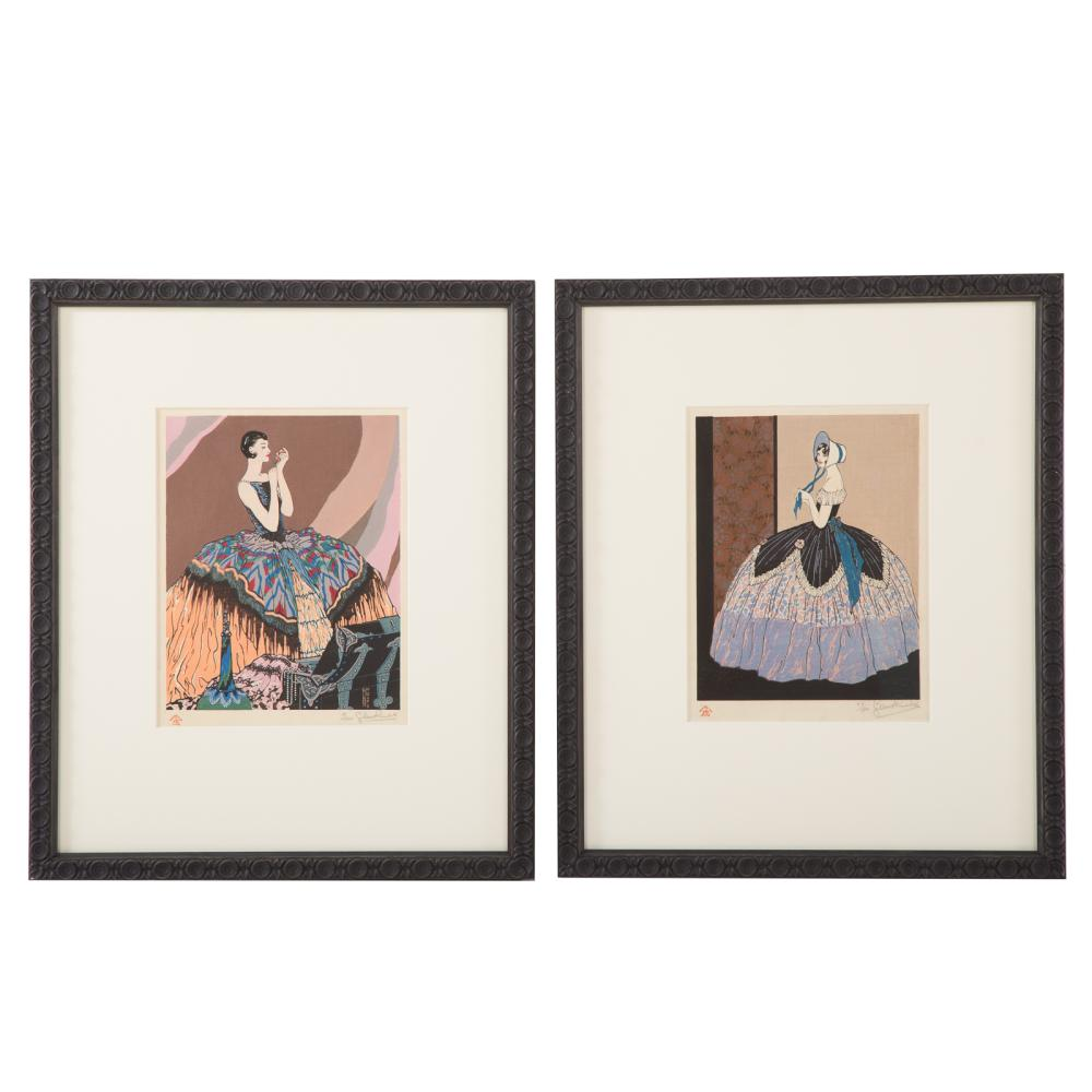 Gilbert Rumbold. Two Framed Color Woodcuts