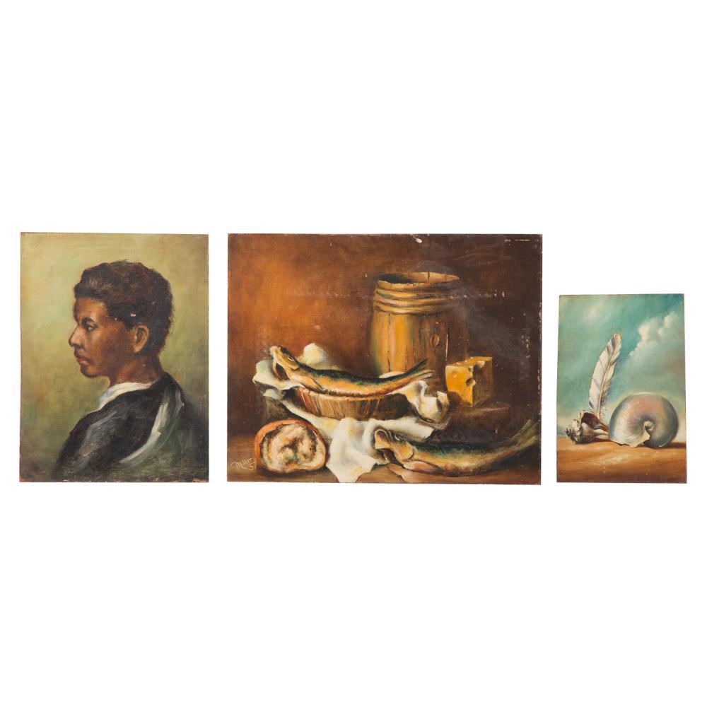 Melvin Miller. Three Unframed Oils on Masonite