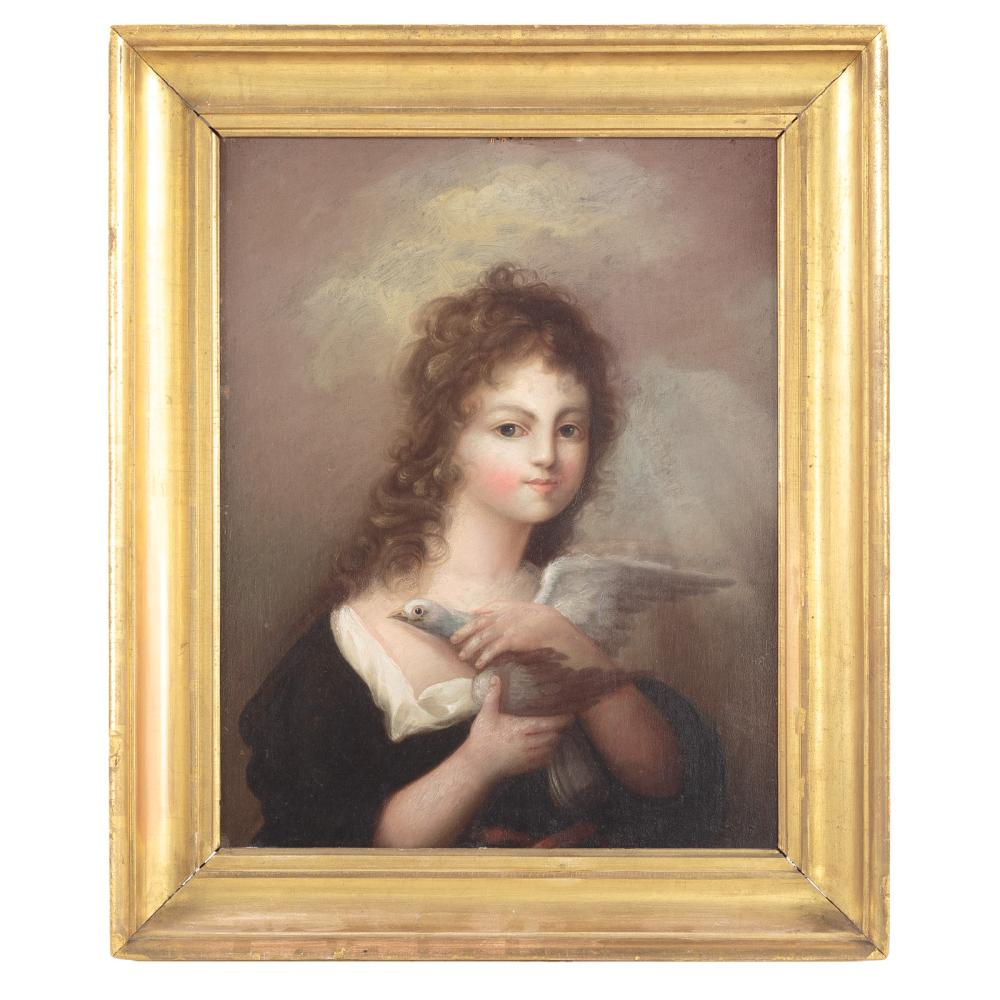 Attrib. to Henry Williams. Girl Holding Dove