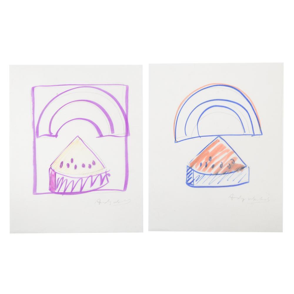Andy Warhol. Pair  Watermelon Rainbow Purple