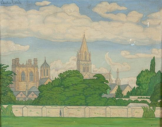 Chester Leich, American, 1889-1978, Christ Church College, oil on canvas, 14 x 18 in., framed
