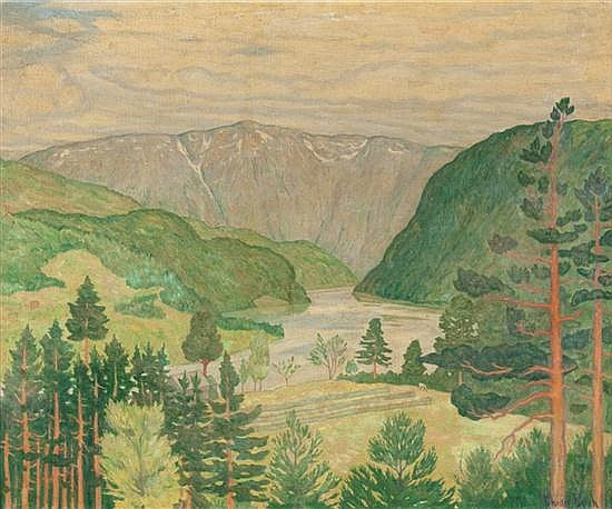 Chester Leich, American, 1889-1978, Hardanger Fjord, oil on canvas, 21 1/4 x 25 1/2 in., framed