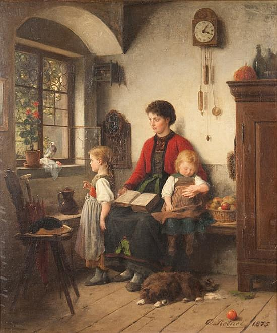 Otto Rethel, German, 1822-1892, Mother with Children in Interior, oil on canvas, 26 x 22 in., framed