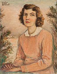 Evelyn Enola Rockwell, American, 1887-1933, Portrait of a Lady, oil on board, 10 1/4 x 8 in., framed