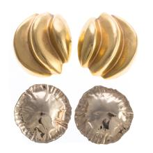 Two Pairs of Lady's Large Disc Earrings