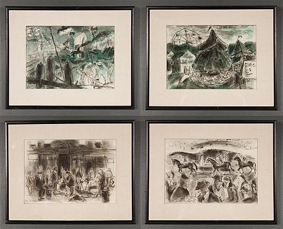Harry Zee Hoffman (American, 1908-1990). Four framed pen and ink with watercolor drawings of assorted subject matter, each approxima...