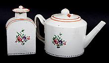 Chinese Export porcelain teapot and tea caddy