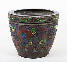 Chinese cloisonne and brass jardiniere