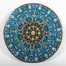 Chinese cloisonne enamel circular plaque