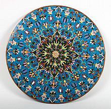 Chinese cloisonne enamel circular plaque