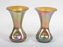 Pair of German iridescent glass vases