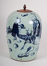Chinese Export celadon porcelain melon jar