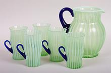 Fenton cased glass cold drink set