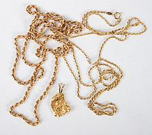 Two 14K gold rope chain necklaces