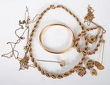 Twelve gold filled jewelry items & a Stanhope pin