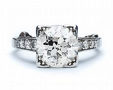 Lady's platinum and diamond engagement ring