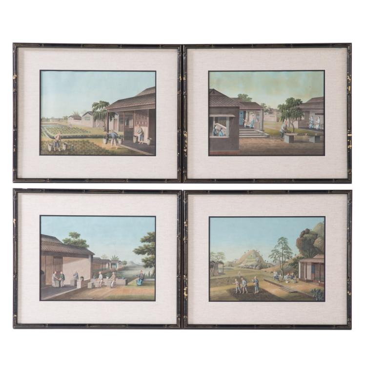 Set 4 chinese export gouaches cultivation of tea for Alex cooper real estate auctions