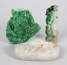 Three pieces of Chinese carved jade or hardstone