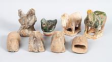 8 Chinese terracotta & ceramic animal figures