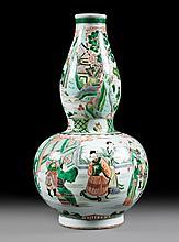 Chinese Export Famille Verte double-gourd vase