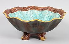 Joseph Holdcroft majolica footed bowl